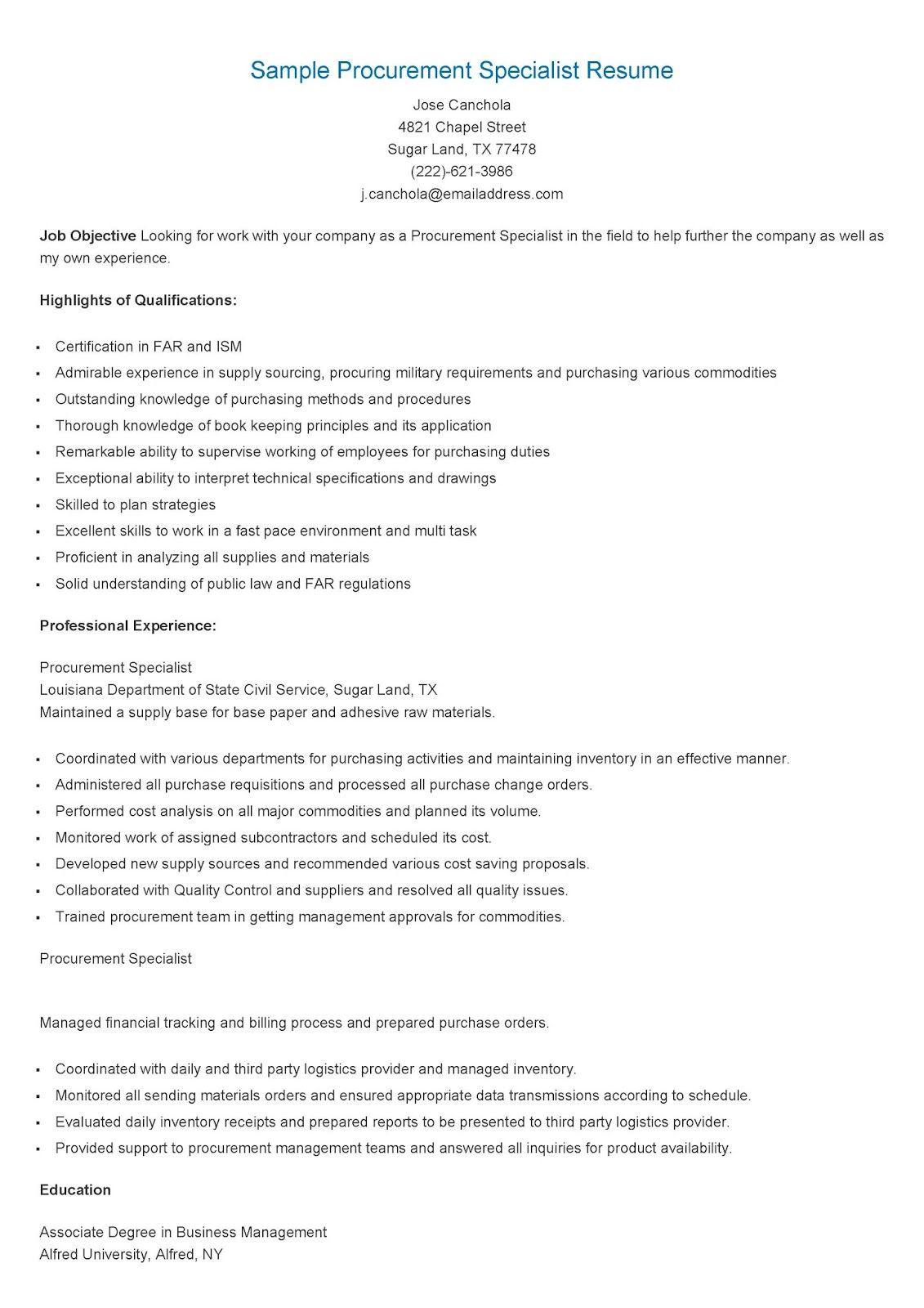 Sample Procurement Specialist Resume Resume Procurement Job Hunting
