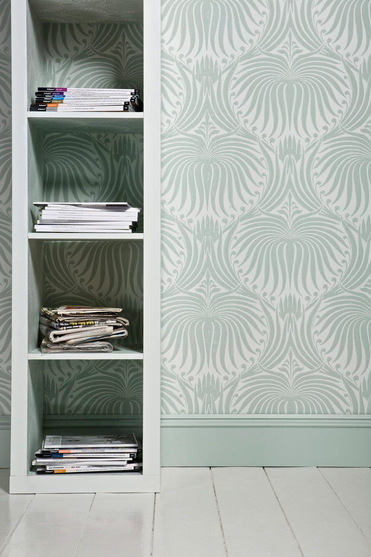Damask wallpaper hallway ideas  Lotus  Lotus BP   Farrow u Ball  Master Bath  Pinterest