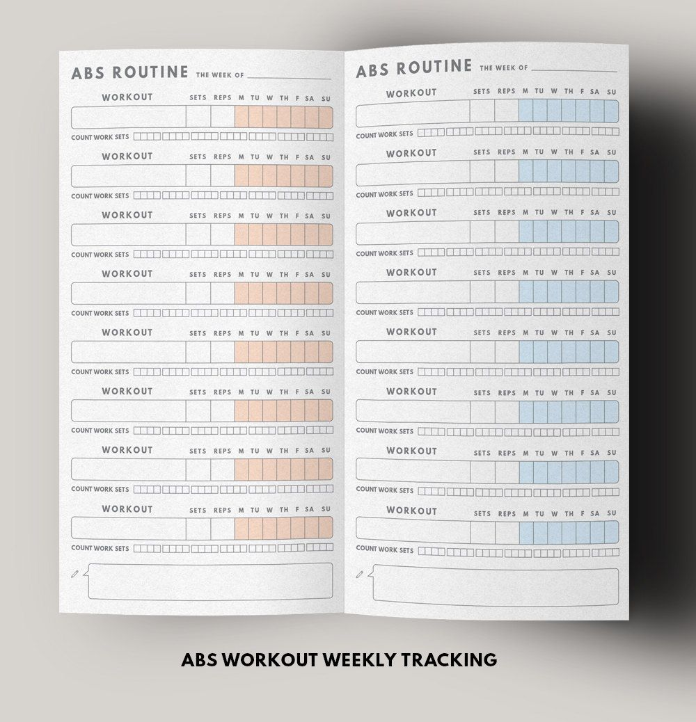 bullet journal ideas:  Fitness Planner Abs Workout Routine Fitness journal by GetWellPlan