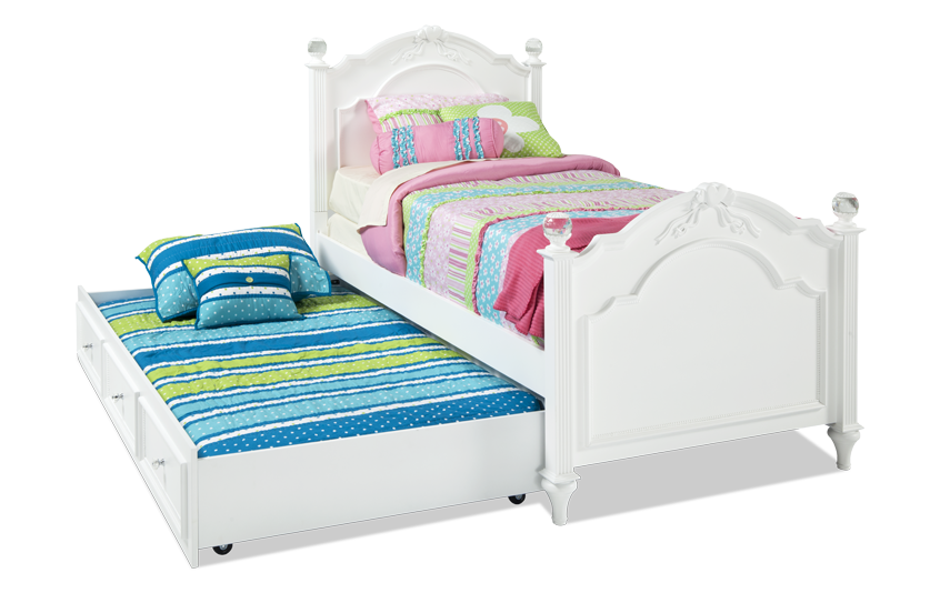 Madelyn Twin White Bed With Trundle Girls Trundle Bed Trundle Bed Twin Trundle Bed Girls twin bed with trundle