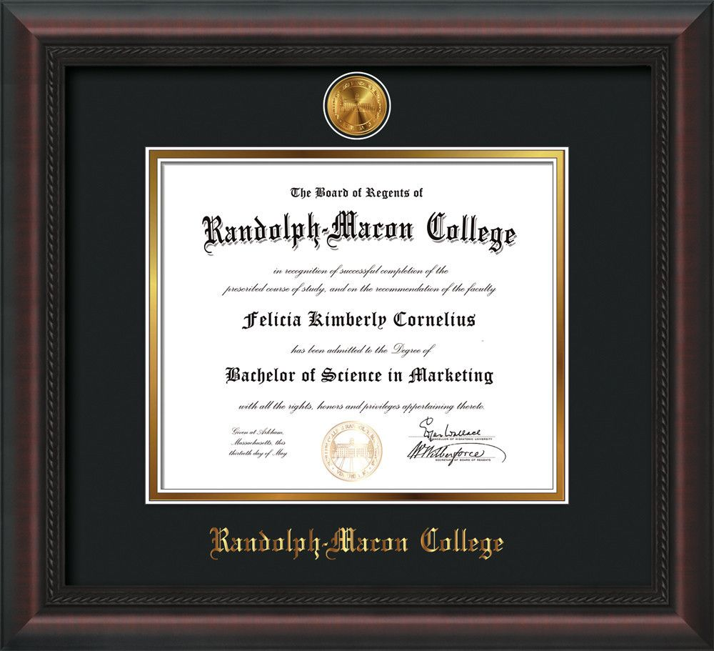 Randolph-Macon College Diploma Frame-Mah Braid-w/RMC Seal-Black/Gold ...