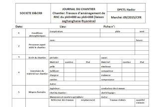 Rapport journalier de chantier en word | Chantier, Chantier de construction et Planning de travail