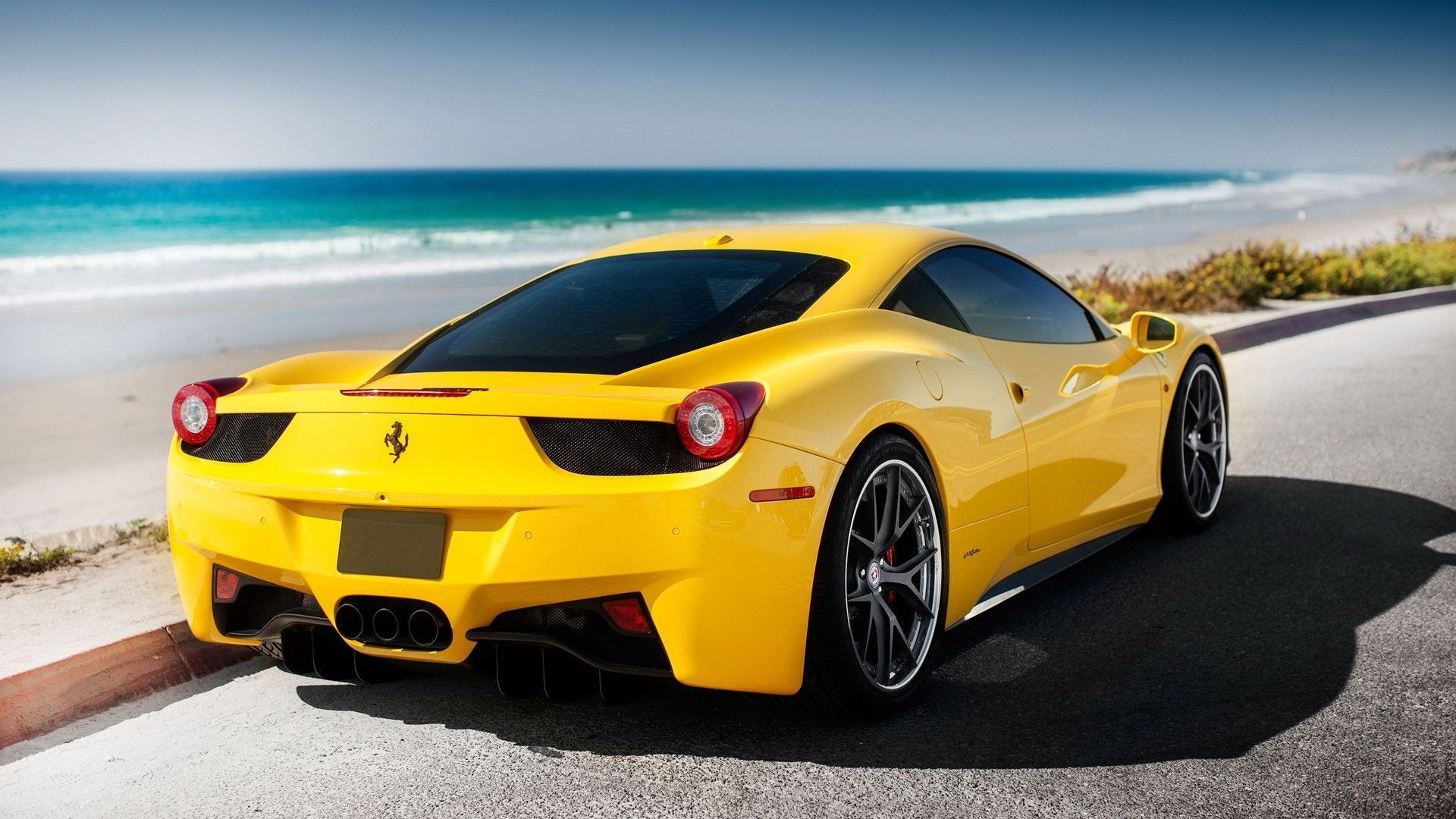 Yellow Ferrari 458 Italia HD Desktop Wallpaper Widescreen High