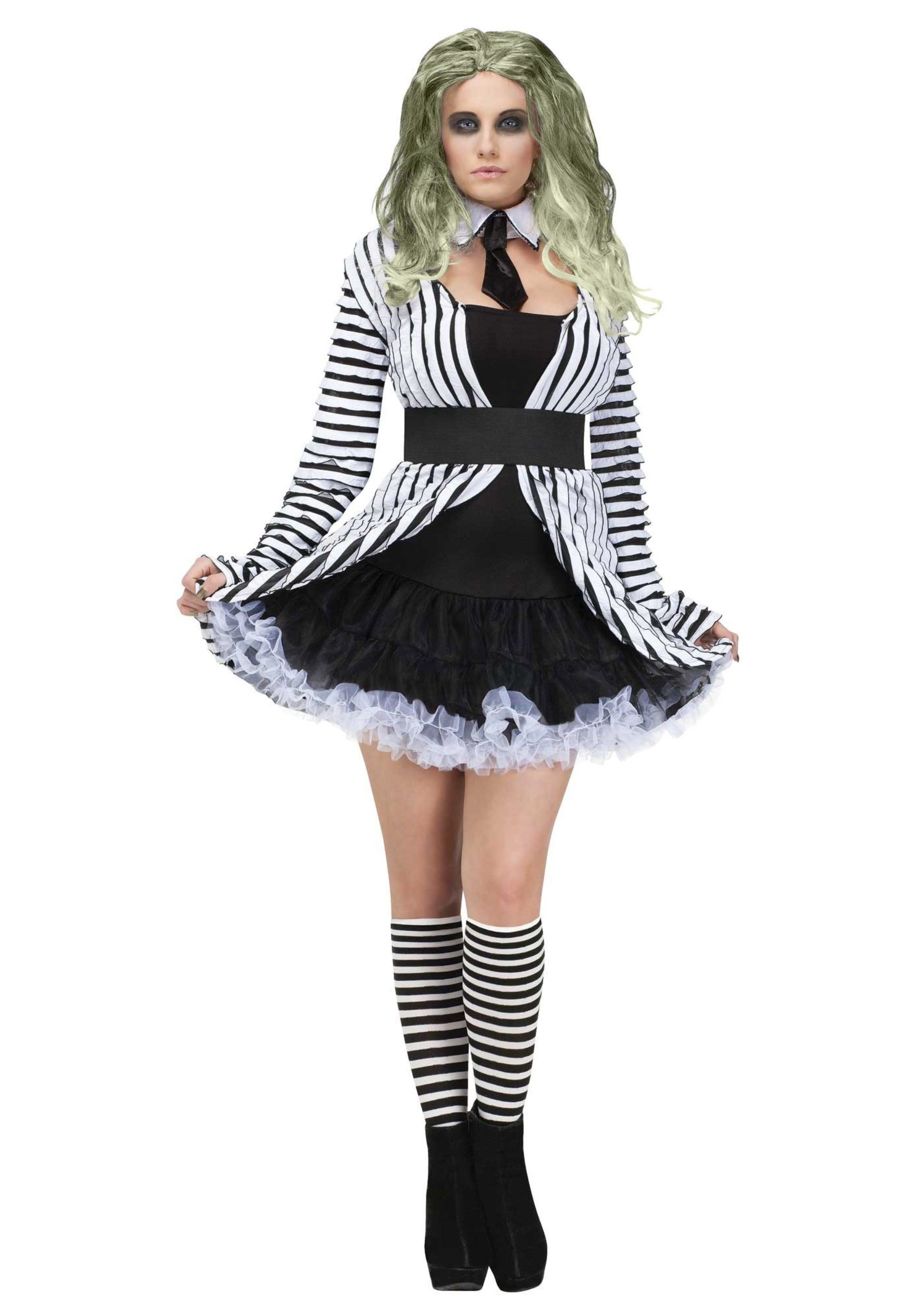 License Mrs Beetlejuice Costume Miss Beetlejuice Ladies Halloween Fancy Dress