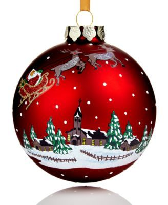 Decorating Christmas Balls Glass Holiday Lane 2017 Red Glass Winter Village Ball Ornament Created