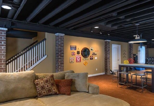 Black Spray Painted Ceiling Home Theater Ideas Pinterest Fascinating Refinish Basement Ideas Painting