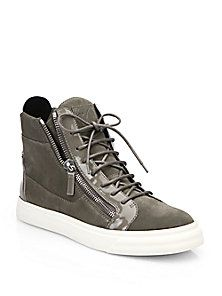 Giuseppe Zanotti - Suede & Patent Leather High-Top Sneakers