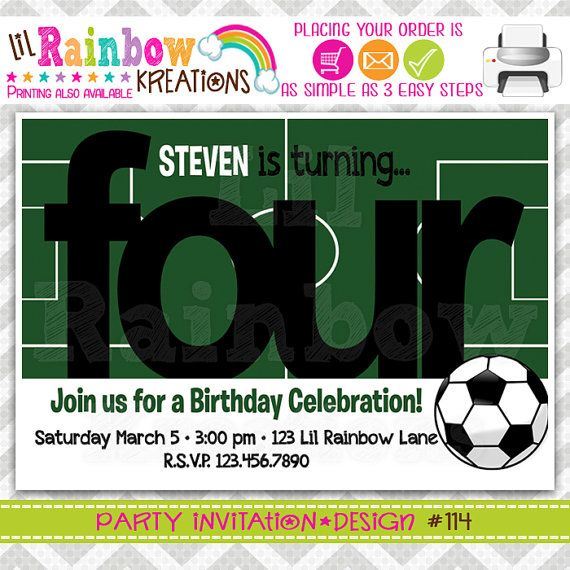 114 DIY Soccer Party Invitation Or Thank by LilRainbowKreations