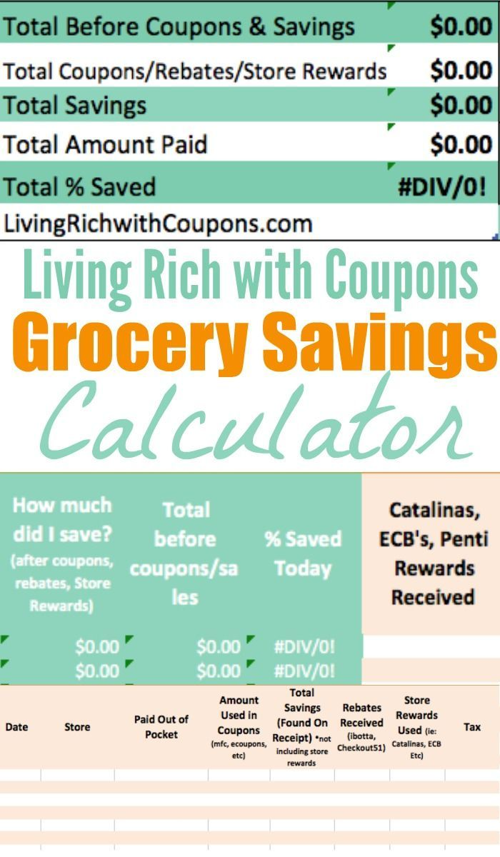Free Grocery Savings Calculator from LRWC | Coupon spreadsheet ...