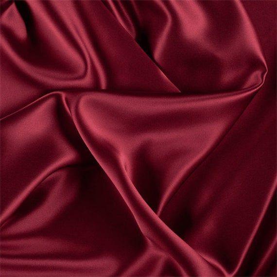 Dark Red Stretch Silk Charmeuse Fabric By The Yard | Etsy
