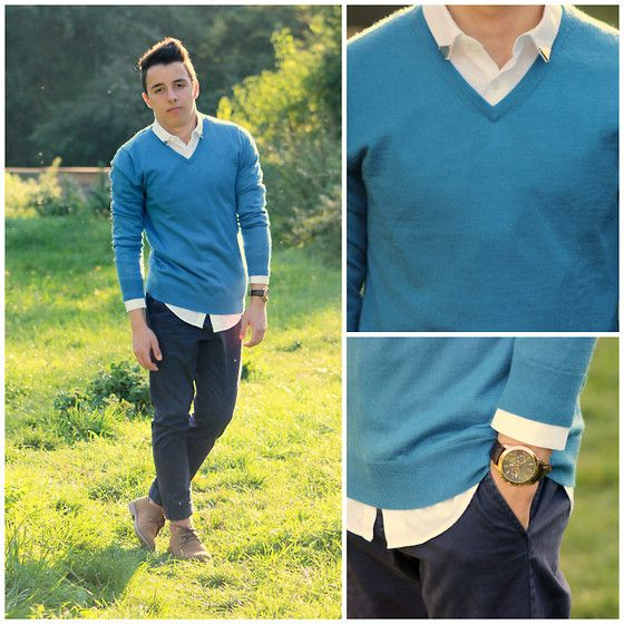 H&M Merino Wool Pullover, Zara White Shirt With Collar Tips ...