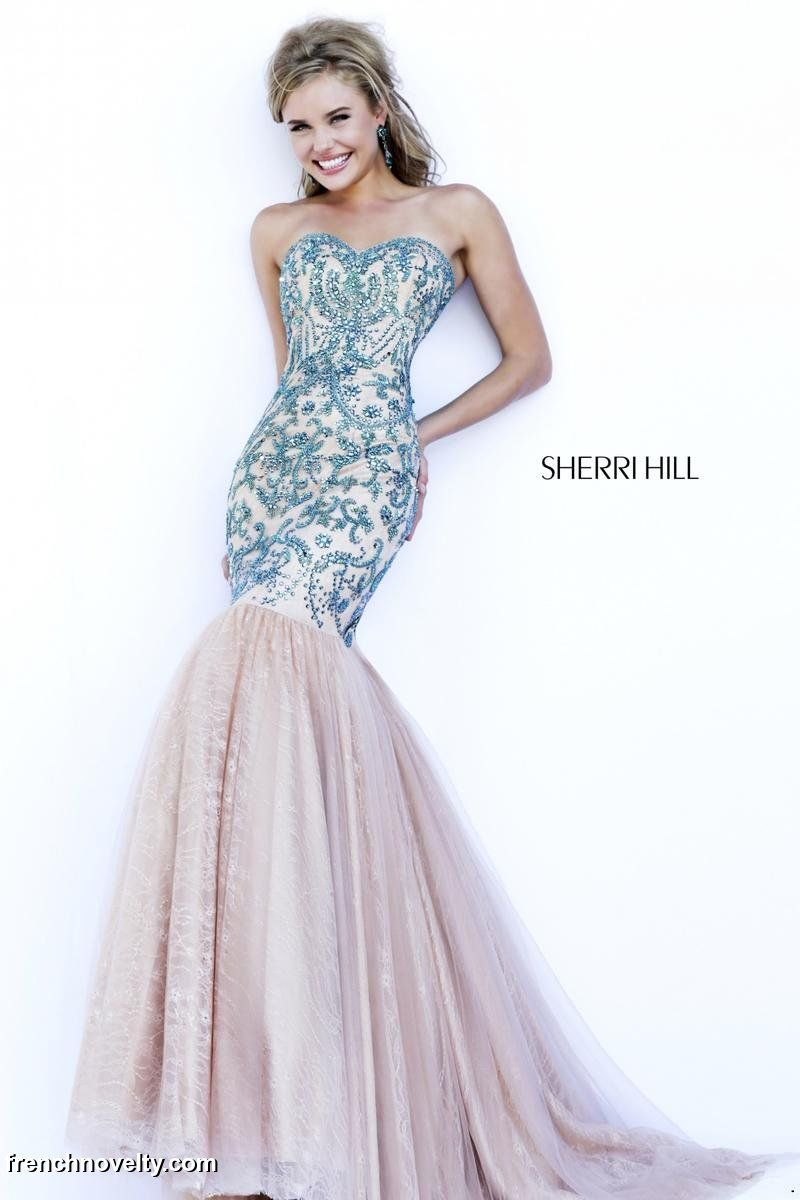 Sherri Hill 1948 - Ruby Beaded Lace Mermaid Prom Dress - RissyRoos ...