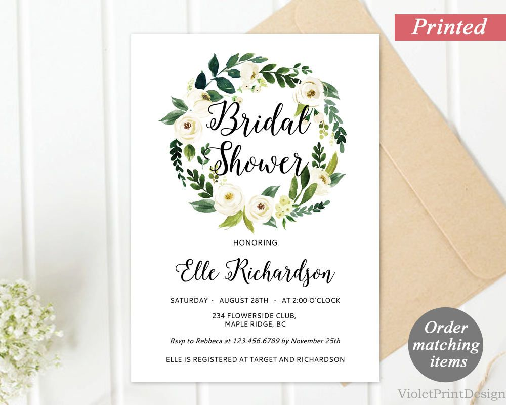 Printed Floral Wreath Bridal Shower Invitation. White Flower Bridal ...