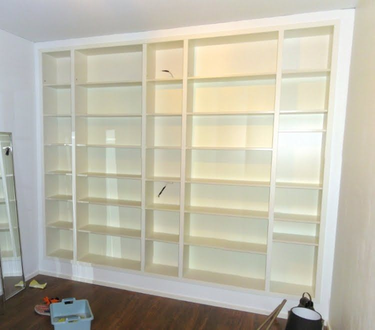 Ikea Hack Billy Bookcases Matching Height Extension Unit To Create Built In Shelving