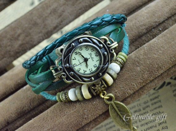 Steampunk wrist watchleaf wrist watch with leater by Gelivablegift