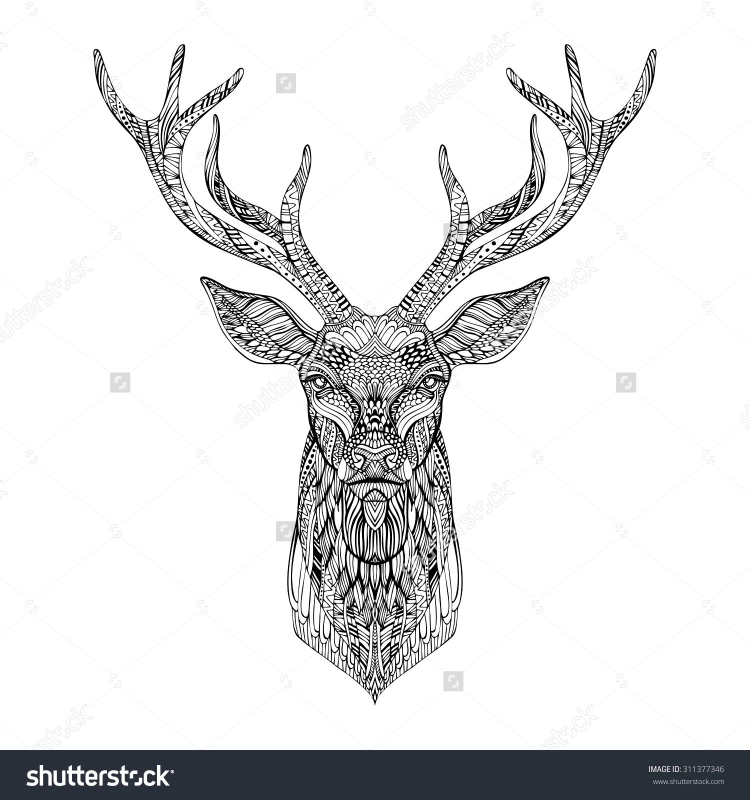 Deer Head Stylized In Zentangle Style. Tribal Tattoo