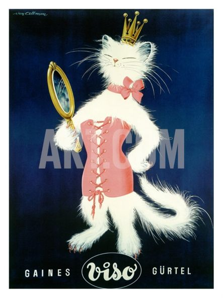 Cat and Cosmetic Mirror Giclee Print at Art.com