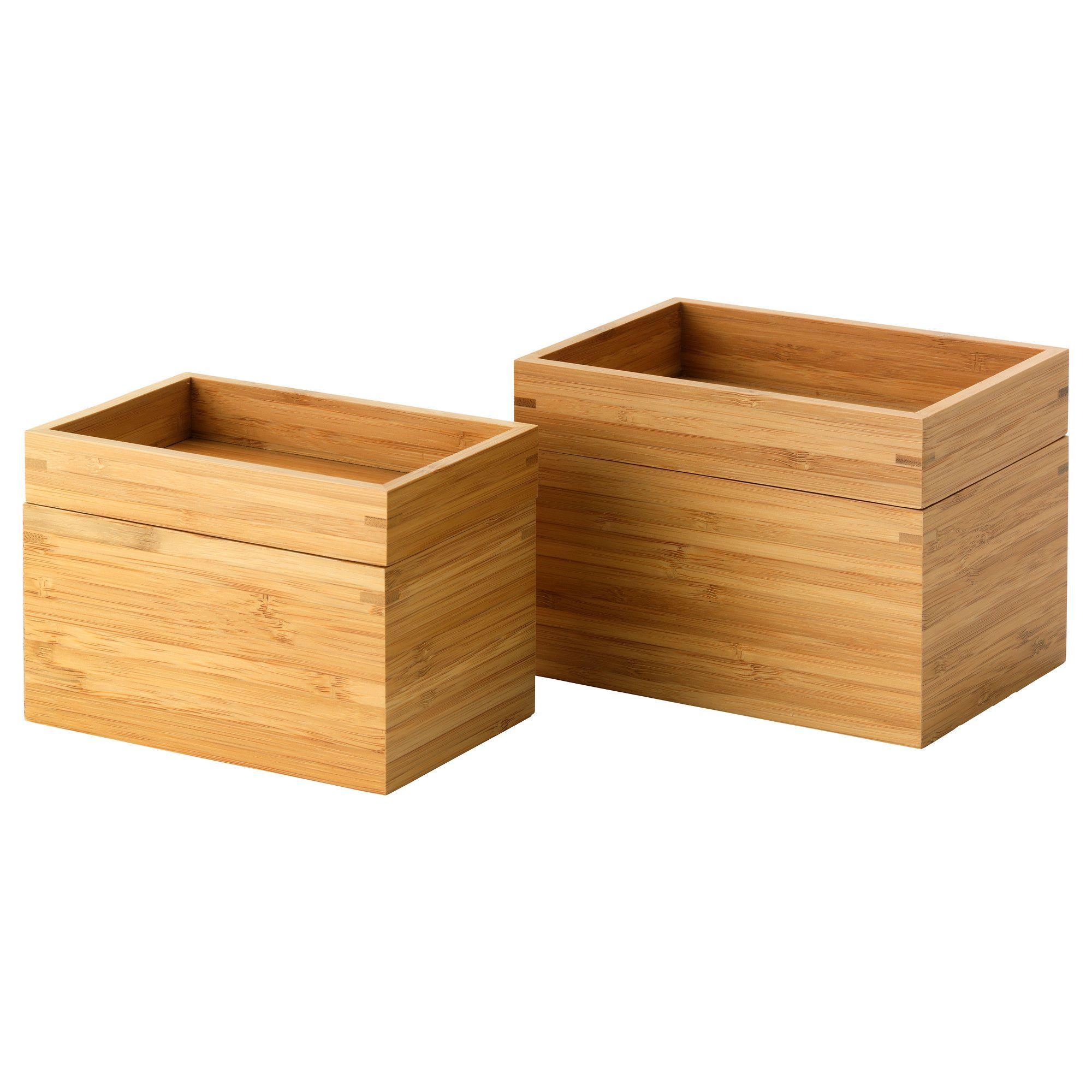 Dragan 2 Piece Box With Lid Tray Bamboo Ikea Storageikea Bathroom