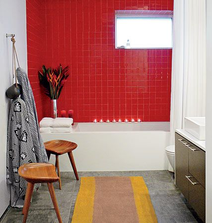 A Bathroom Accented With Bright Red Tile How Fun And Dramatic Tilesensations Bathroom Red Shower Tile Bathroom Wall Tile