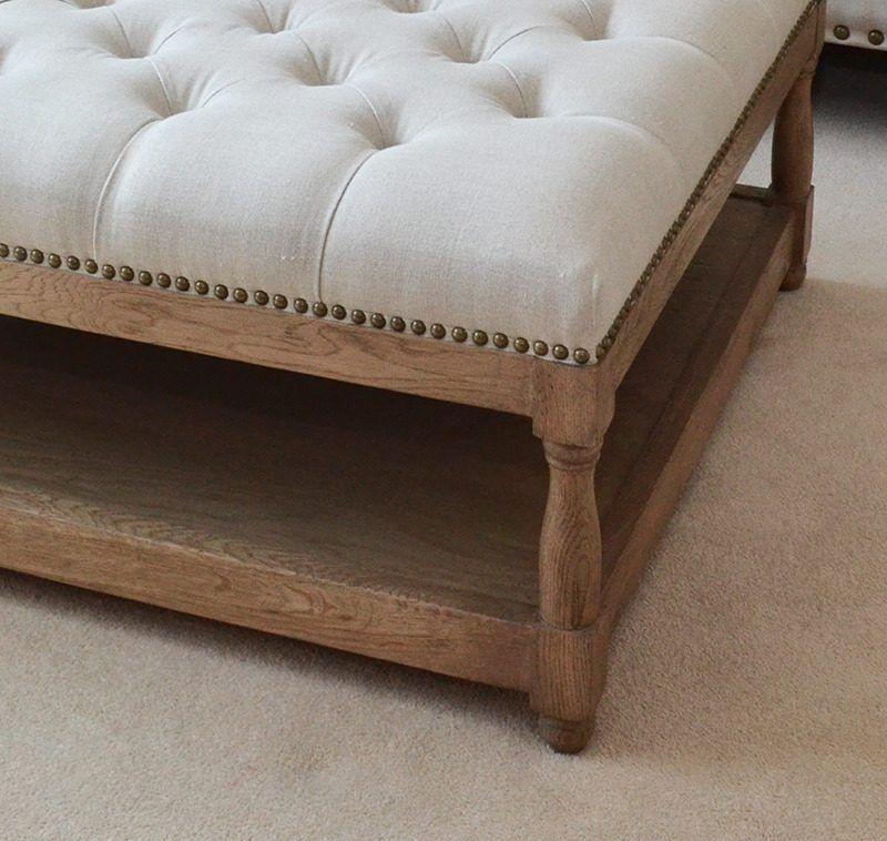 Upholstered Petit Royale Ottoman Coffee Table Oatmeal Linen