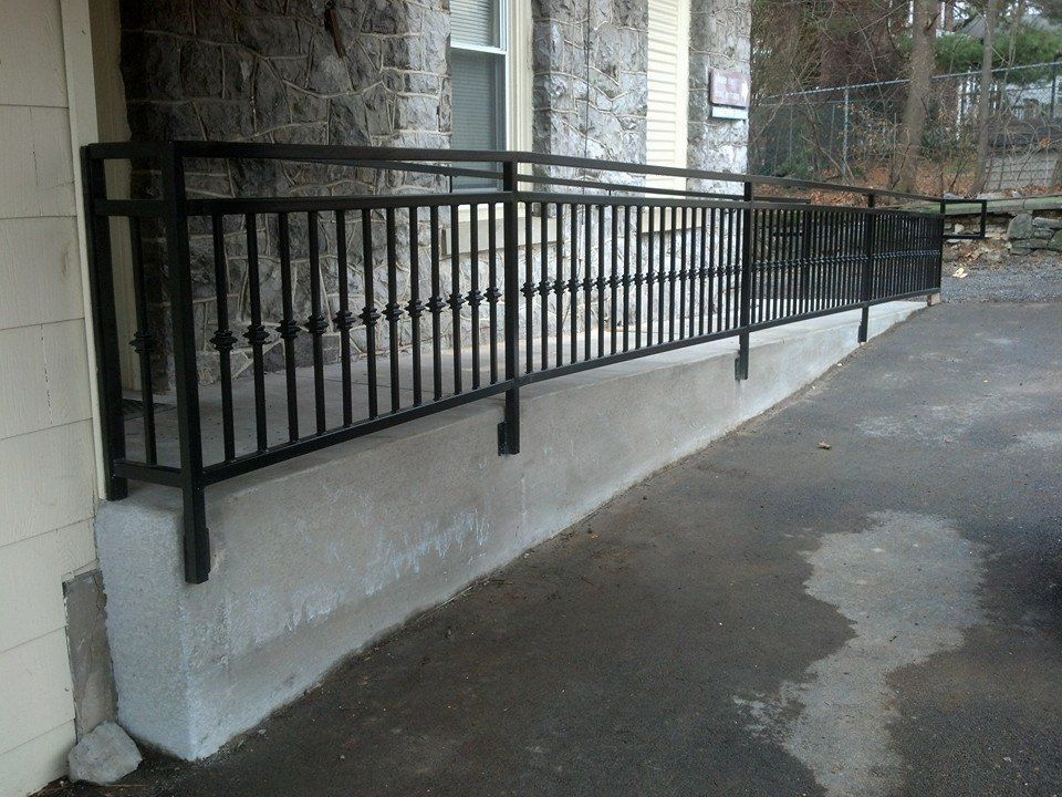 Custom Made Wrought Iron Ada Ramp Railing Deck Stair Railing | Disabled Handrails For Outside Steps | Elderly | Full Width | 2 Step | Outdoor | Industrial Pipe
