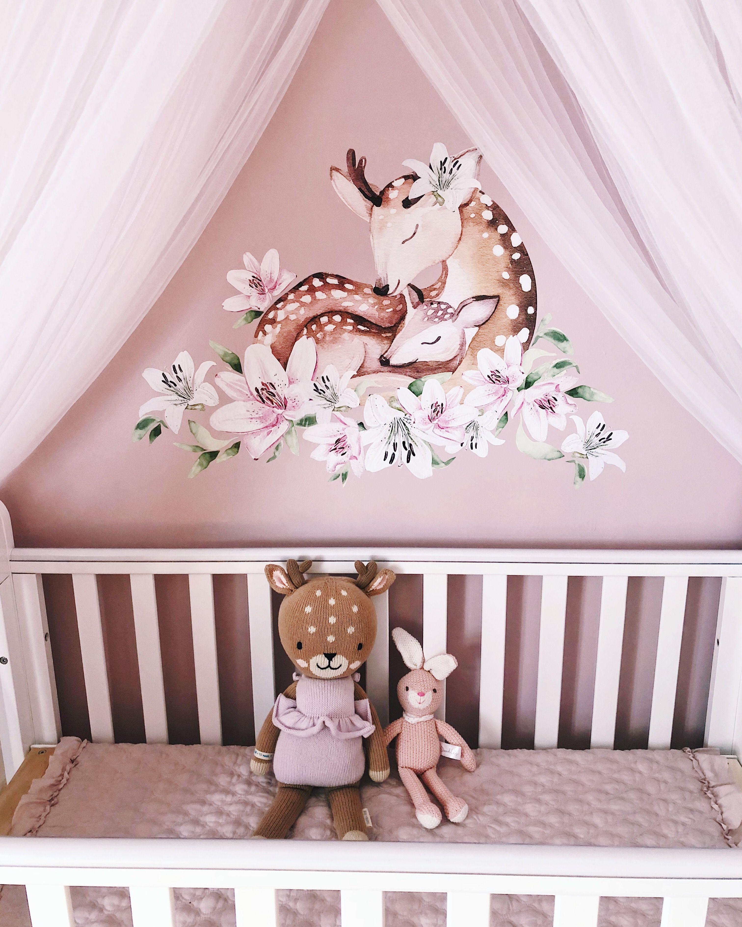 Deer Theme Nursery Woodland Baby Girl Room Baby Girl Nursery Decor Baby Girl Nursery Room