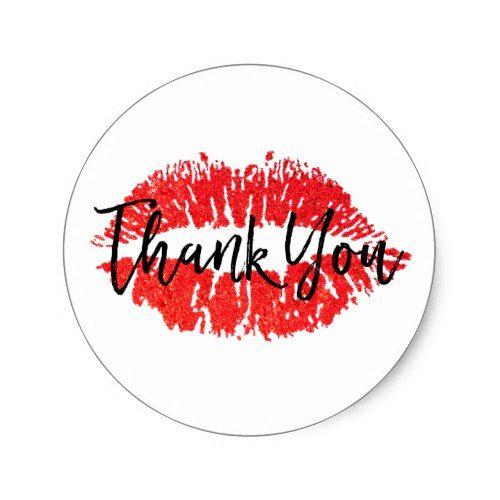 Red Lips Kiss Thank You Classic Round Sticker Zazzle Com Lips