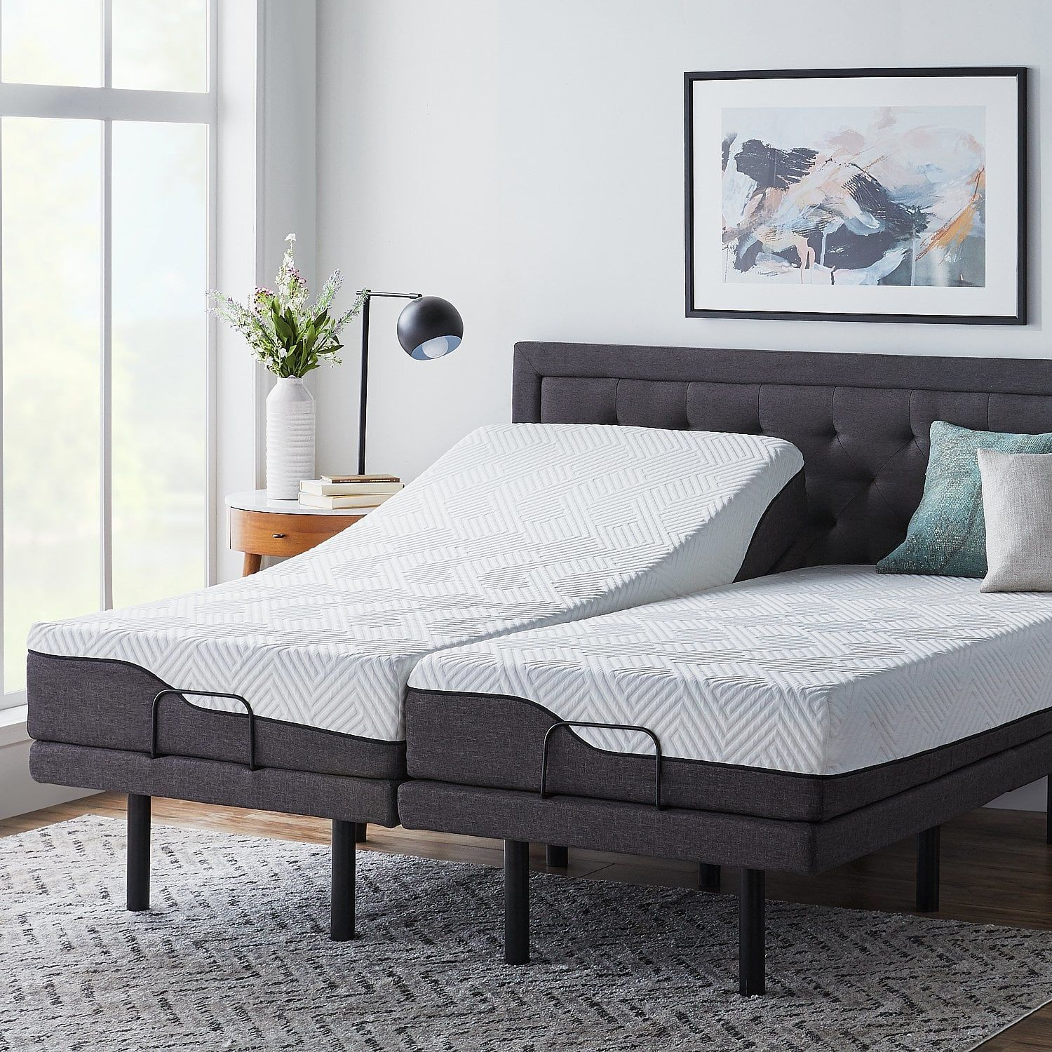 Lucid Comfort Collection 10 Inch Split King Size Memory Foam Hybrid Mattress With L300 Adjustable Base Spl Adjustable Beds Adjustable Bed Base Hybrid Mattress