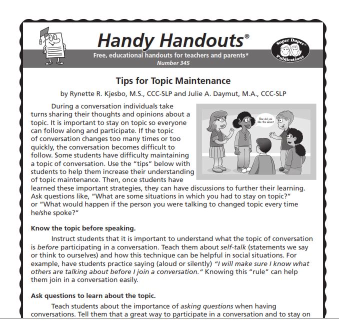 Handy Handout Topic Maintenance Conversation Skills Social Skills Training Handouts