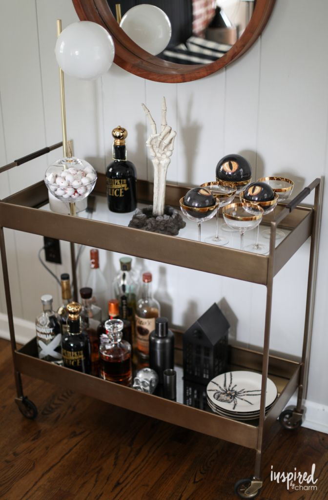 Halloween Bar Cart and Mantel Decor Ideas to Die for #halloween