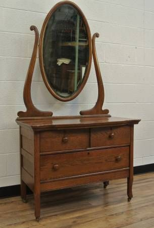Antique Oak 3 Drawer Dresser Vanity With Harp Framed