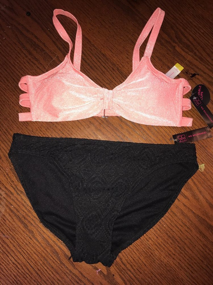 de9c788d6e033 NWT NO BO 2 Piece Junior's Large 11-13 Coral and Black Bikini #NoBoundaries