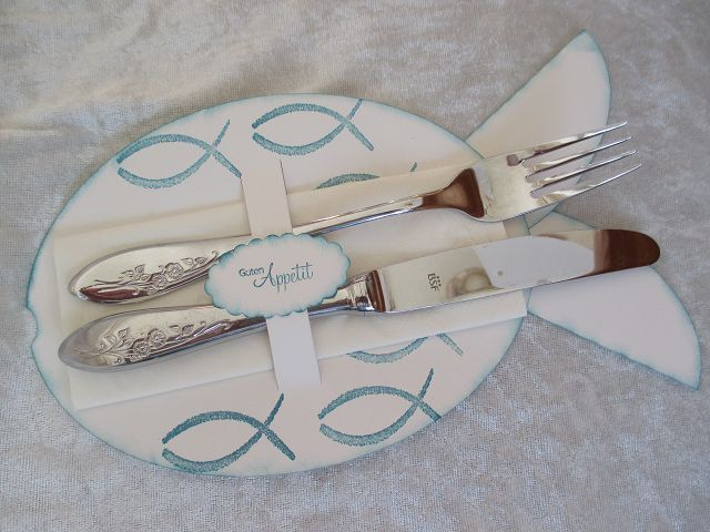 cutlery bag fish form confirmation  communion  communion