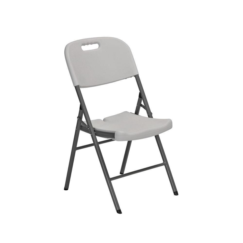Sandusky White Plastic Seat Metal Frame Outdoor Safe Folding Chair