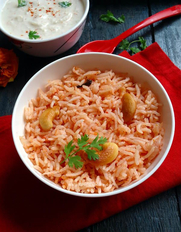 Tomato Pulao - quick and easy flavorful one pot meal