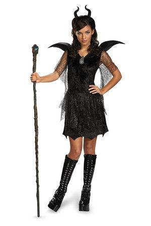 disney maleficent black gown tween costume