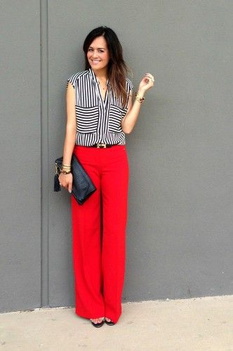 red pants, bold graphic = ding! | Dree Harper via Refinery29