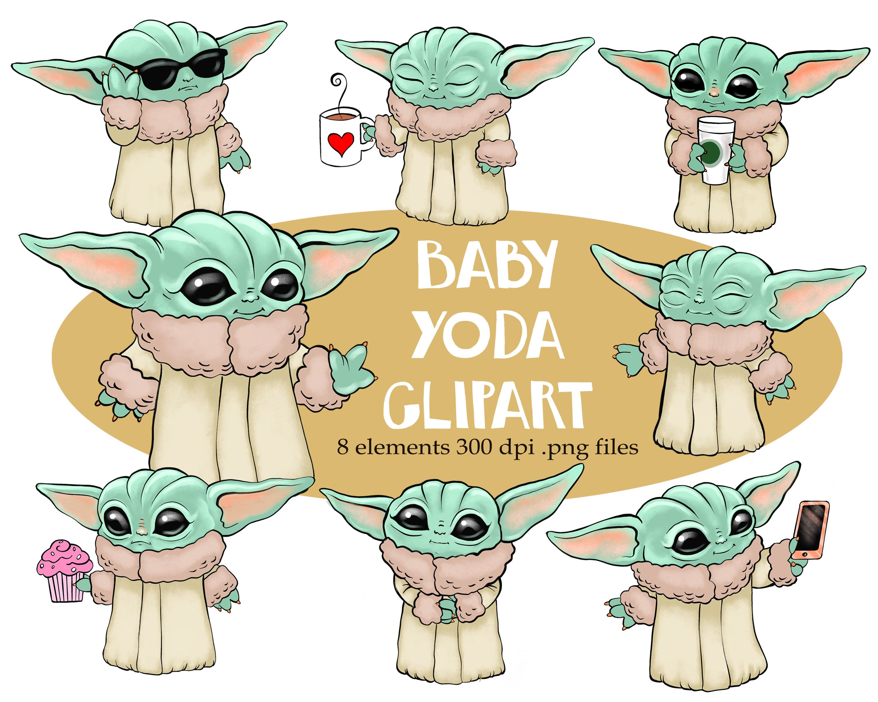 Excited To Share This Item From My Etsy Shop Baby Yoda Clipart Instant Download Yoda Art Yoda Sticker Star Wars Drawings