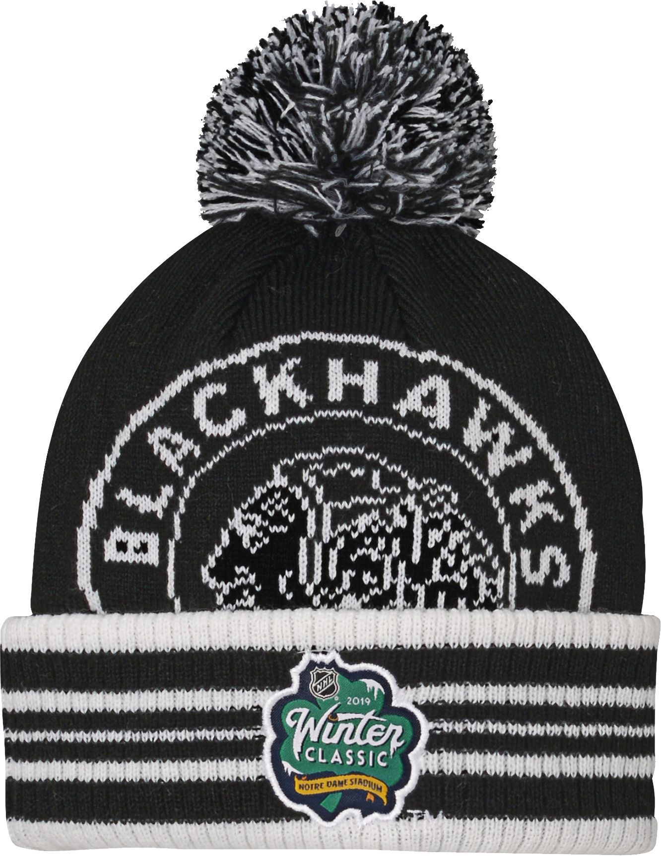43a005a91b0 NHL Youth 2019 Winter Classic Chicago Blackhawks Black Pom Knit Beanie