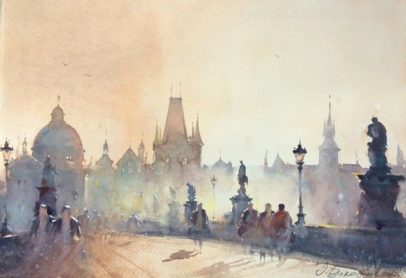Dusan Djukaric Prague Watercolour 57x38cm Watercolour