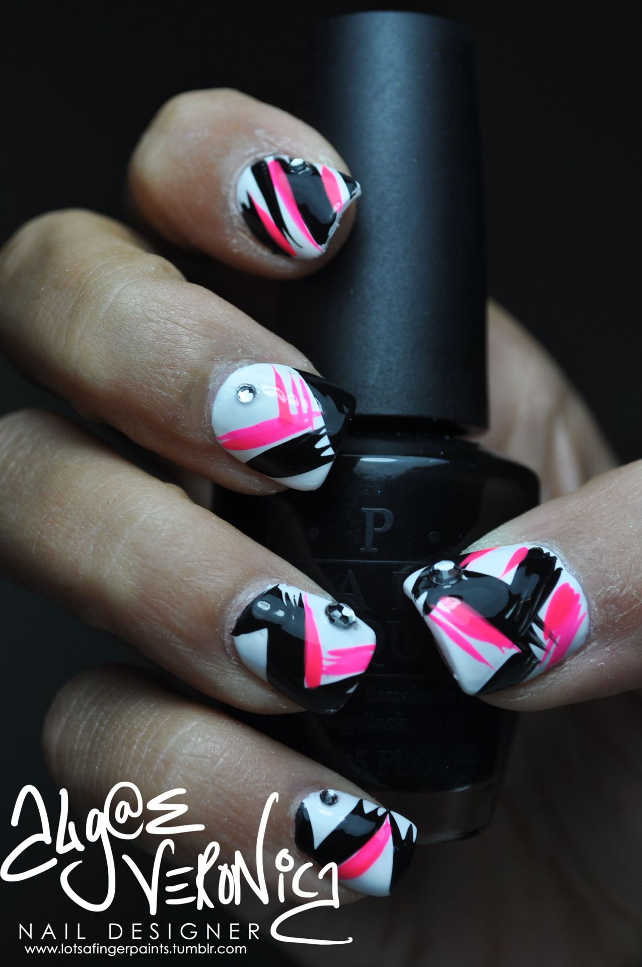 neon pink+black | Makeup, Hair and Nails | Pinterest | Pink nails ...