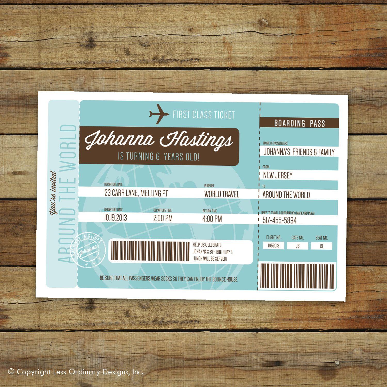 Airplane ticket birthday party invitation Around the World – Airline Ticket Birthday Invitations