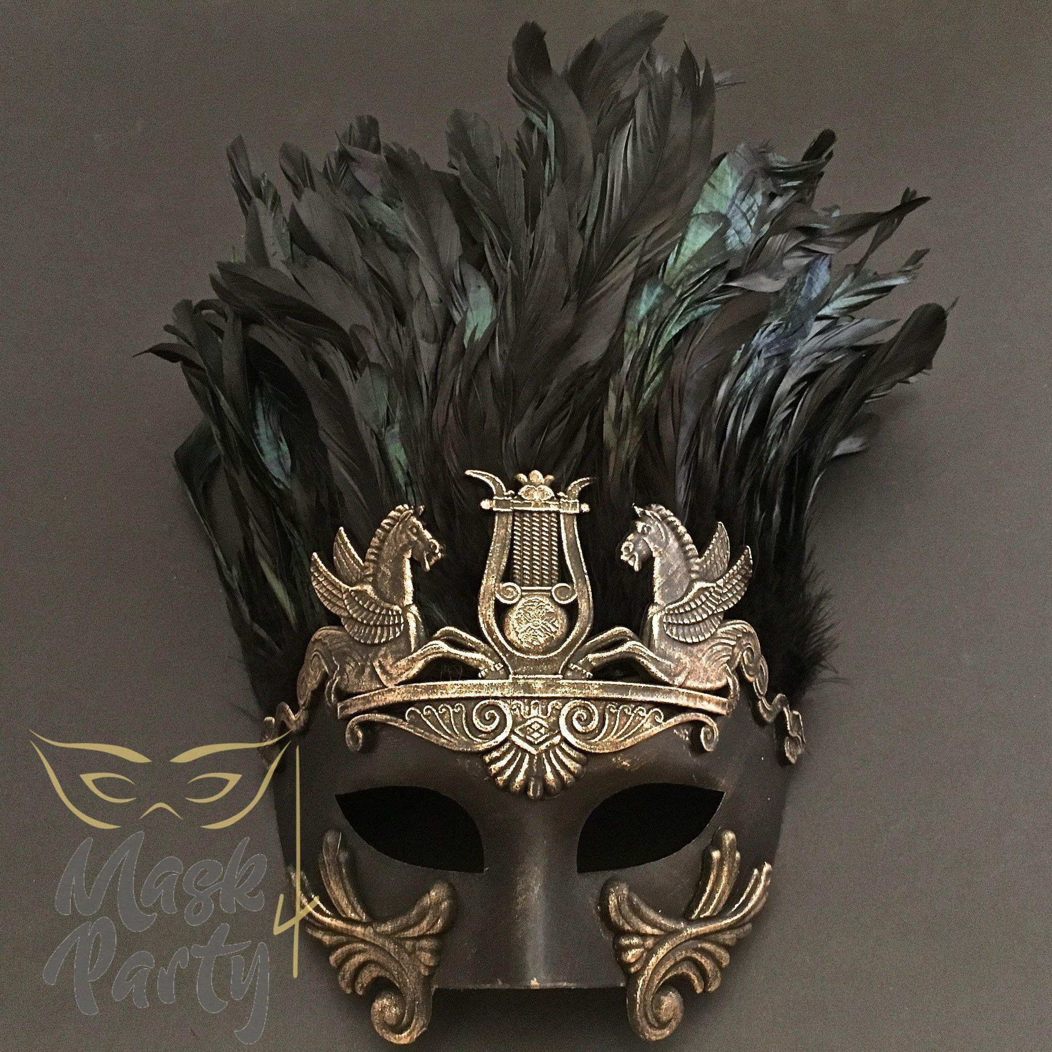Men/'s Gold Demon Venetian Masquerade Half Face Gladiator Warrior One Size NEW