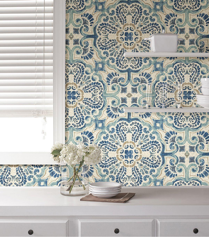 Wallpops Nuwallpaper Peel Stick Wallpaper Florentine Tile Joann Nuwallpaper Kitchen Wallpaper Stick On Tiles