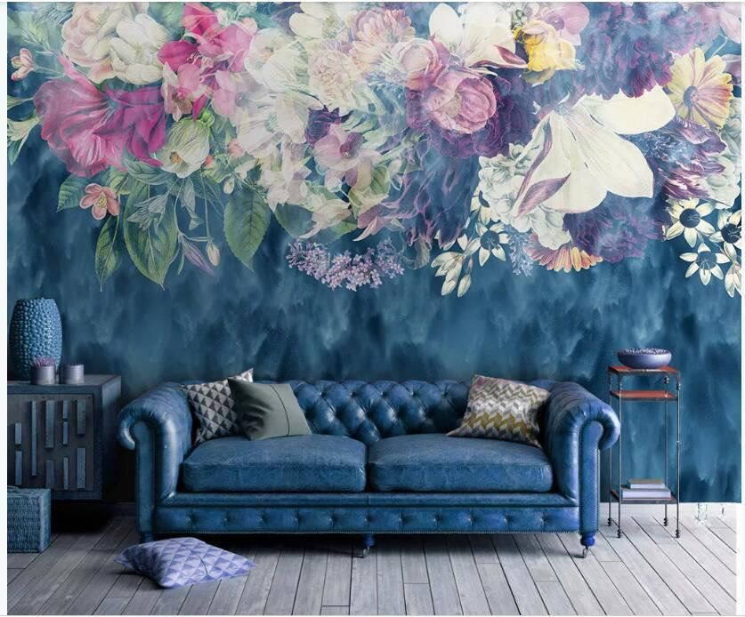 Watercolor Blue Background Hanging Flowers Floral Wallpaper Etsy Wallpaper Bedroom Vintage Floral Wallpaper Bedroom Floral Wallpaper
