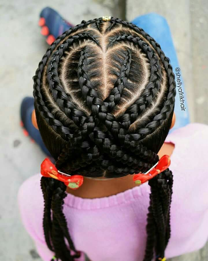 cute heart hairstyle kids