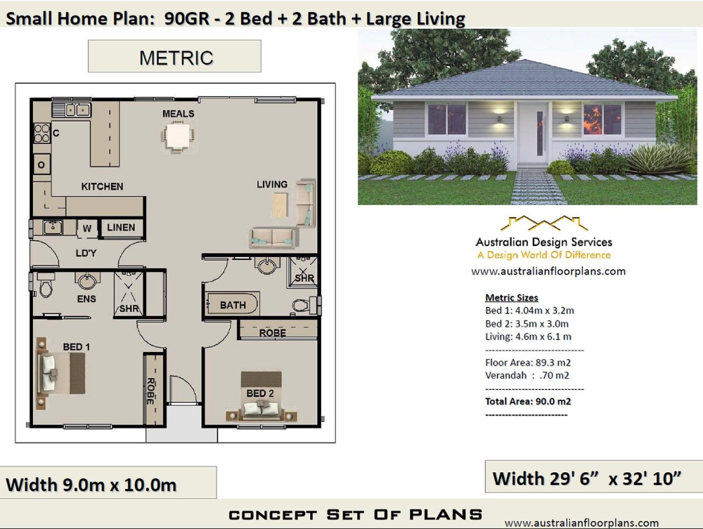 2 Bedroom House Plan 968 Sq Feet Or 90 M2 2 Small Home Design Small Home Design 2 Bedroom Granny Flat Concept House Plans For Sale House Plans For Sale House Plans Pool House Plans