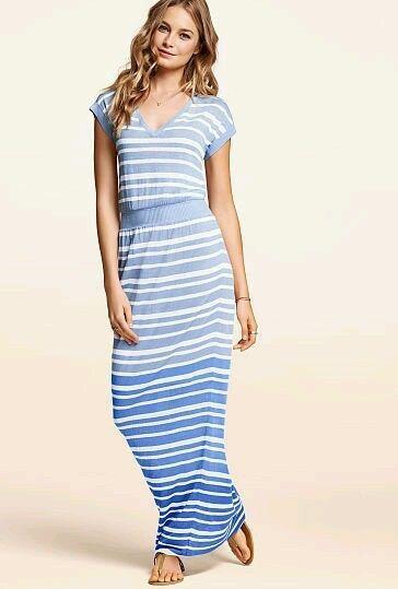 Victoria's Secret Crossover Open Back Striped Linen Maxi Dress Size XS Short #VictoriasSecret #Maxi