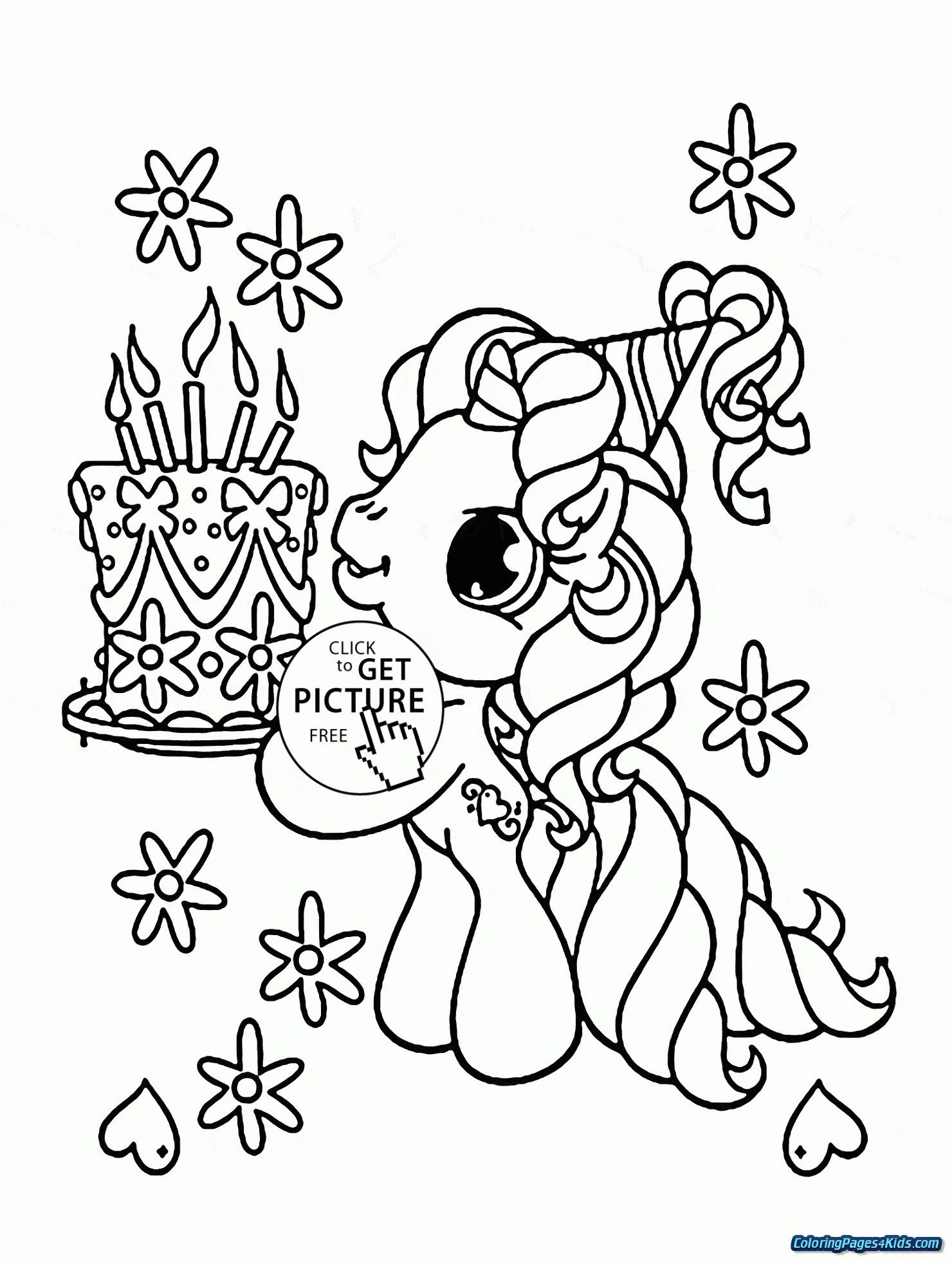 30 Marvelous Photo Of Birthday Cake Coloring Pages Unicorn