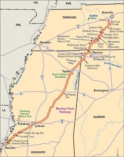 Natchez Trace Parkway Map : natchez, trace, parkway, Natchez, Trace, Parkway, Mississippi, Travel,, Mississippi,